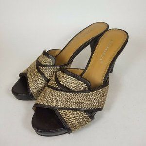 A. MARINELLI BROWN EMBROIDERED LEATHER HEELS 7.5M
